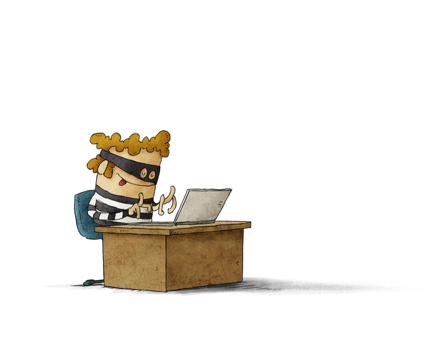 Illustration of a thief hacking a computer