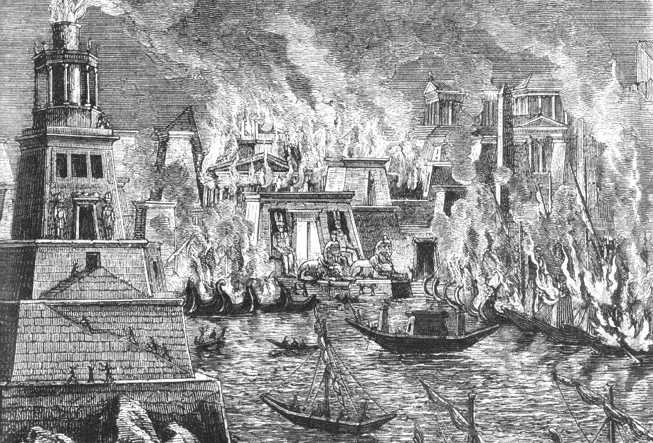Burning of Alexandria, by Hermann Goll, 1876