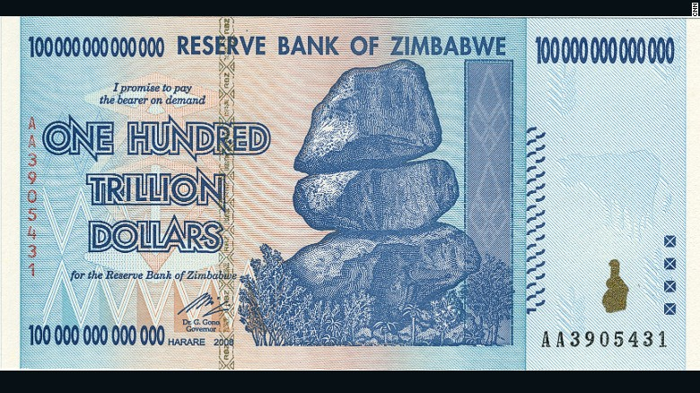 100 trillion dollar bill from Zimbabwe