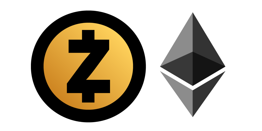 Ethereum and ZCash logo