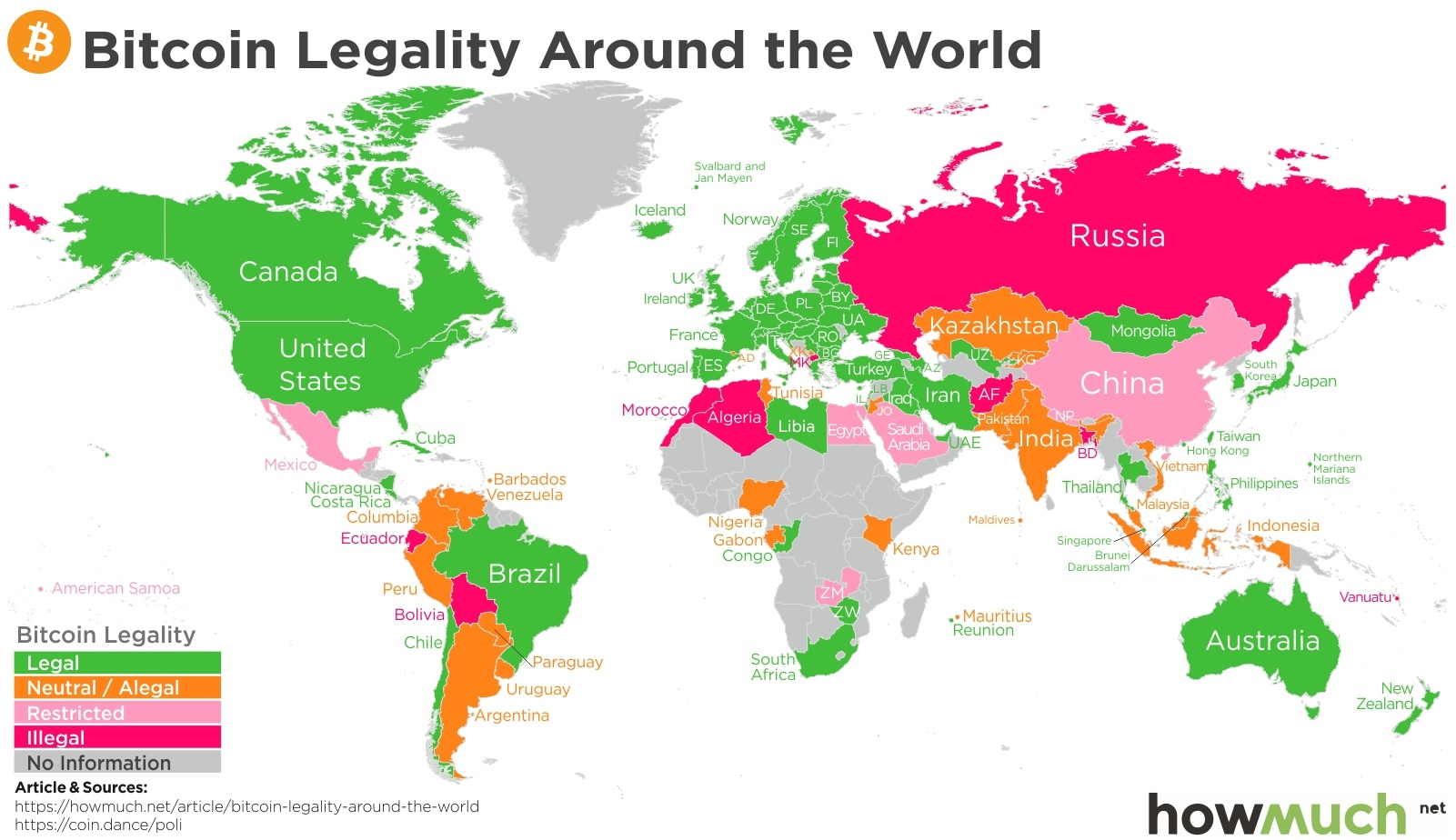 Legality of Bitcoin across the world