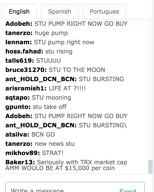 Pumping in the exchange's trollbox