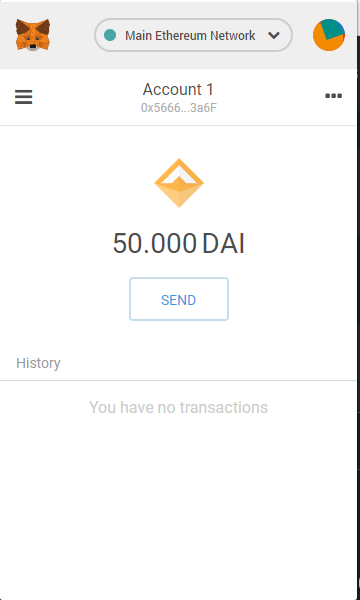 Metamask has 50 DAI