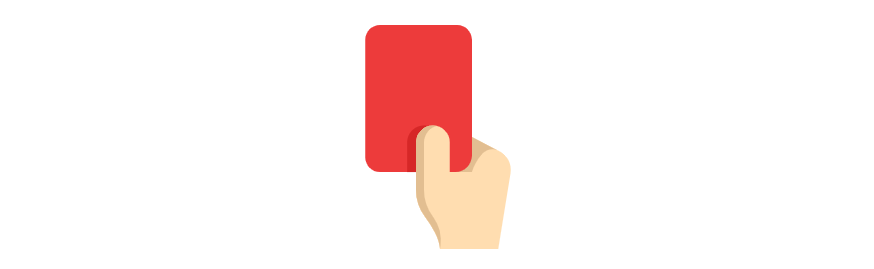 A red card, as used in soccer